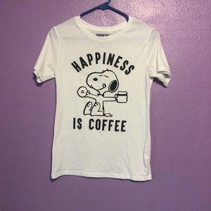 White Peanuts Happiness Is Coffee Tee